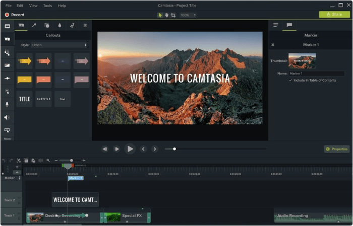 Camtasia SCORM-Software